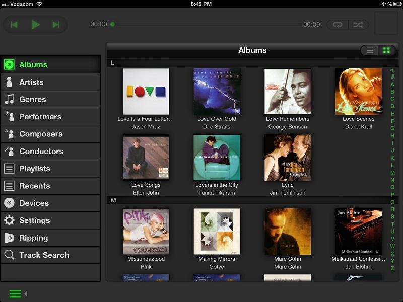 Naim nserve app Album page